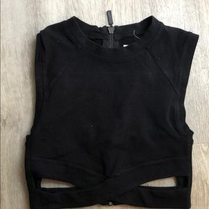 Silence + noise black zip up crop top